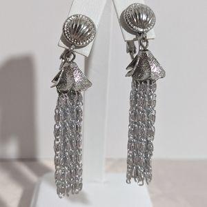 Long Vintage Silver Chain Dangle Clip Earrings